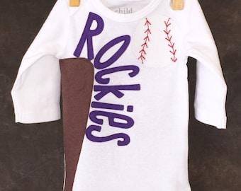 Personalized Colorado Rockies Team Baseball Onesie