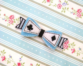 ITH Alice in Wonderland Inspired Bow In the Hoop Embroidery Design Hair Tutorial Instant Download 3D Felt Embroidery Machine