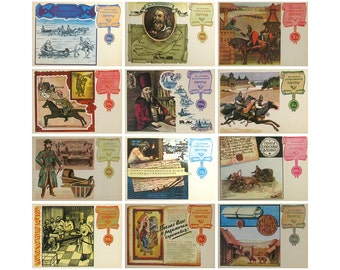 History of Russian Post, Set of 12 Soviet Unused Postcards, Russian, Illustration, Komlev, USSR, 1977