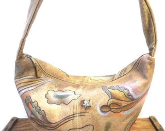 Vintage Colorful Artsy Hand Painted Leather Butterfly Hobo Bag Shoulder Sling Purse