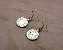 Antique Bronze Pocketwatch Dangle Earrings // Steampunk // Alternative // Clock
