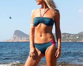Bandeau Bikini Top, Adjustable Blue Bikini Top, Zig Zag Tie Back, Funky Beachwear