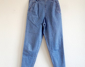 Vintage 80s 90s Tapered High Waist Blue Denim Jeans