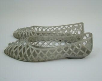 80s Glitter Jelly Flat Sandals