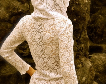 Lace top,Faux wrap,Hoodie,Shirt,Festival,Handmade,Boho,Womans,benuapparel,pixie
