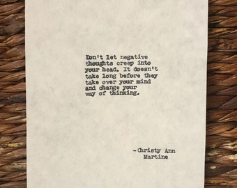 Positive Quote Messages Typewriter Quotes Positive Thoughts Typed onto Manila Hemp Paper