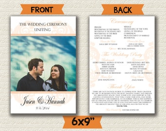 Traditional Wedding Fan Program Customizable 6x9""