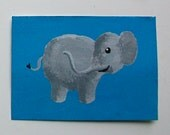 """The Blue Elephant #58 (ARTIST TRADING CARDS) 2.5"""" x 3.5"""" by Mike Kraus Free Shipping"""