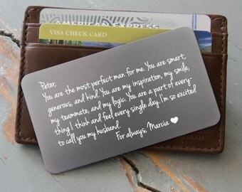 Personalized Wallet Card, 9 colors, Silver Wallet Insert Available, Engraved Wallet Card, Custom Wallet Insert: Valentine's Day Gift for Him