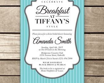 Bridal Shower Invite, Breakfast at Tiffany's, Classic Bridal Shower Invite, Breakfast at Tiffanys Bridal Shower, Breakfast at Tiffanys Theme