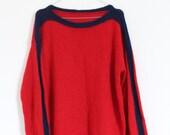 Vintage Pullover Sweater Wollpullover Sailor Matrose Grobstrick Marine Rot Blau M Oversize Boyfriend