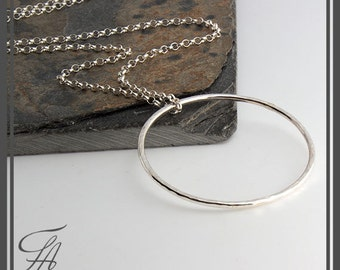 Large Ring Eternity Circle Necklace, Ring Necklace, Sterling Silver Eternity Pendant, Minimalist Necklace, Circle of Life