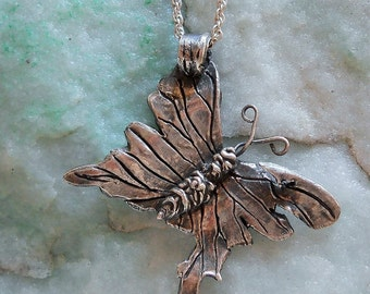 Unique Fine Silver Tattered Butterfly