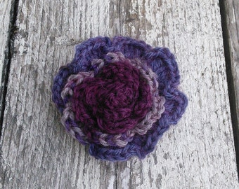 Mothers Day Gift, Crochet Rose Brooch, Rose Corsage, multi coloured grey, purple, wine