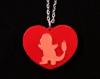 Charmander Heart Necklace or Keychain Pokemon Inspired