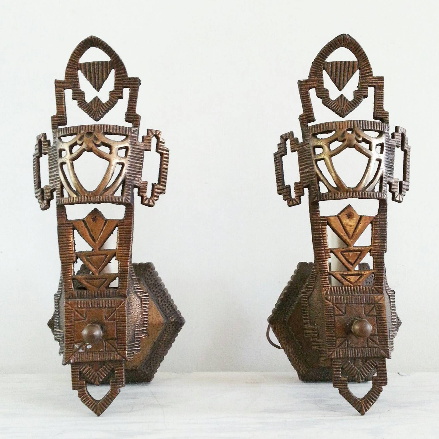 1930s Art Deco Spanish Revival Wall Sconces By Propsandpieces