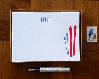 Hello, Ski Motif, Boxed Set of 8 Letterpress Flat Notes, Boxed Stationery