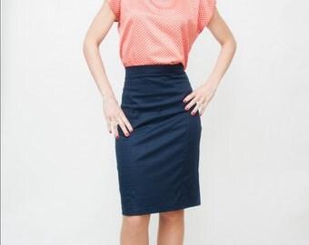Pin up navy pencil skirt
