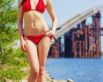 Swimsuit with beads \ red \ cotton \ for women \ beachwear