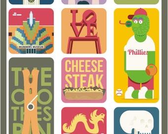 Philadelphia Art Poster,  Phily Prints, Wall Decor, Bar Decor, Travel Art, Kitchen Art, Retro Poster