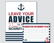 Nautical Advice for Mommy to Be Cards and Sign in Navy and Red - Printable Anchor Baby Shower Advice for Mom, Advice for Parents - 0029-R