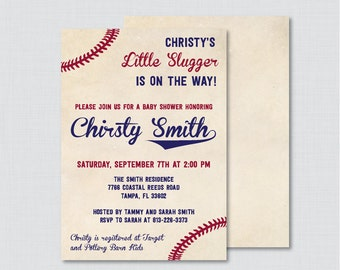 Baseball Baby Shower Invitation Printable or Printed - Vintage Baseball Baby Shower Invites, Boy Baby Shower Sports Invitation - 0027