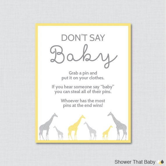 baby shower game printable don 39 t say baby sign diaper pin clothes