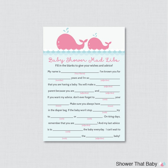 Whale Baby Shower Mad Libs Printable Baby Shower Advice