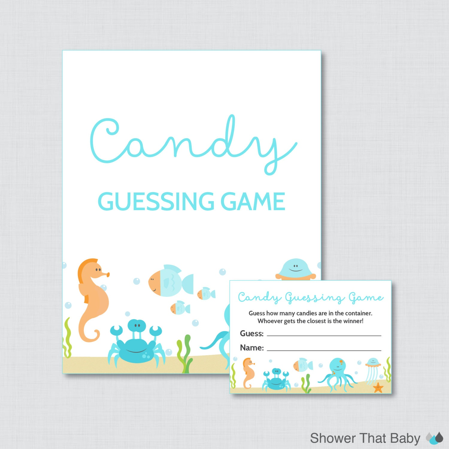 under the sea baby shower candy guessing game printable blue