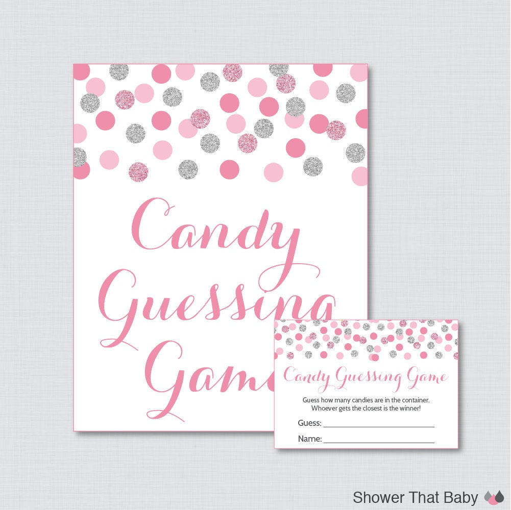 pink and gray baby shower candy guessing game printable