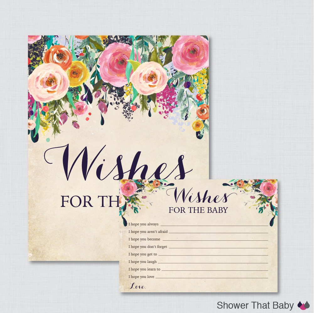 Baby Shower Cards Messages: Floral Wishes For Baby Baby Shower Activity Printable Well