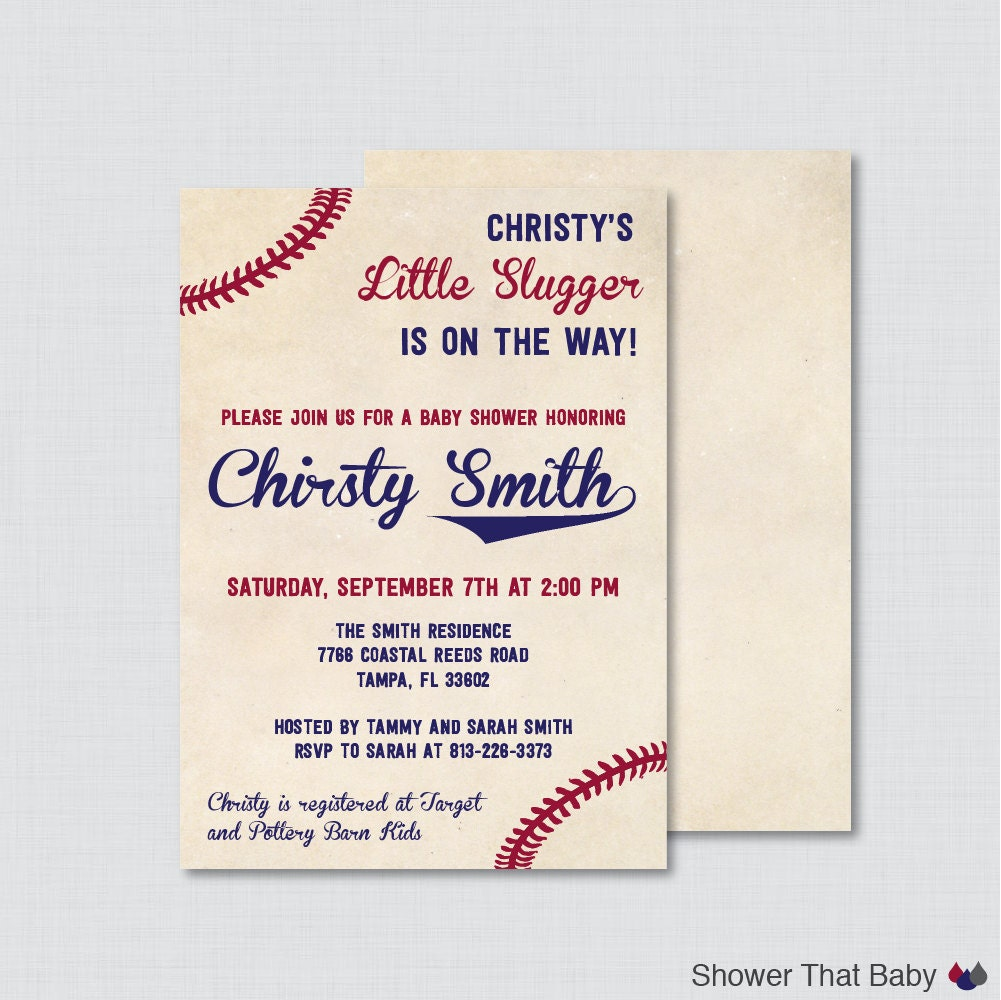 Baseball Baby Shower Invitation Printable Or Printed Vintage