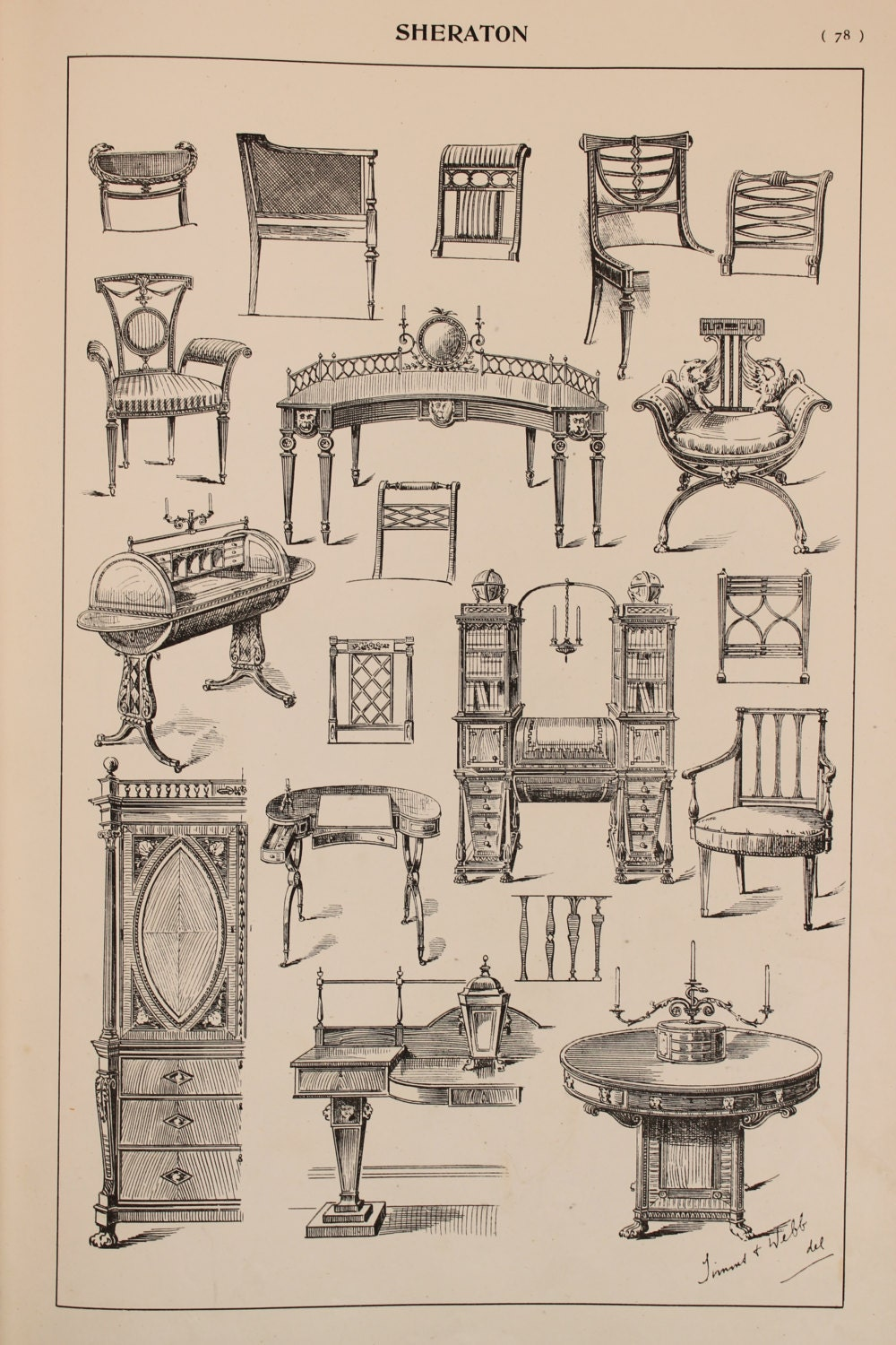 English sheraton furniture designs large antique by for English chair design