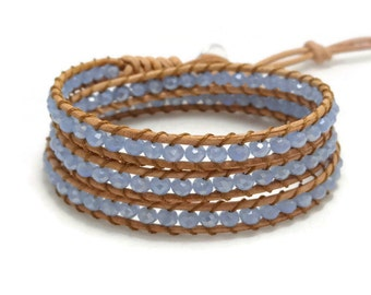 Wrap Bracelet, Blue Crystal Bracelet, Leather Wrap Bracelet, Leather Bracelet, Beaded Bracelet, Bohemian Bracelet, Gift for Her, Gift Idea