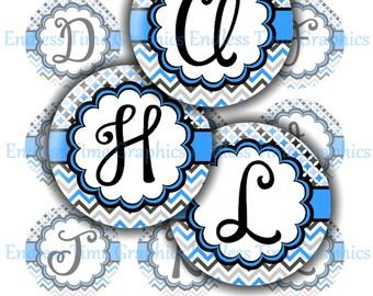 Blue Letter Bottlecap Images. Alphabet Digital Bottle Cap Images. Personalized Badge Reel, Key Chain, Hair Bow Center, Pendant Necklace, 023
