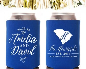 State Script and Flourish Established Wedding Favors: Custom and Personalized Can Cooler // Calligraphy Handwritten