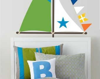Sailboat Sails Vinyl Wall Decal  - Boy's or Girls's Bedroom Wall Decal