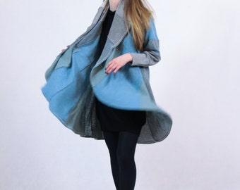 Grey Comfortable Coat Eco Coat Original Blue Cloak Fashionable Coolawoola