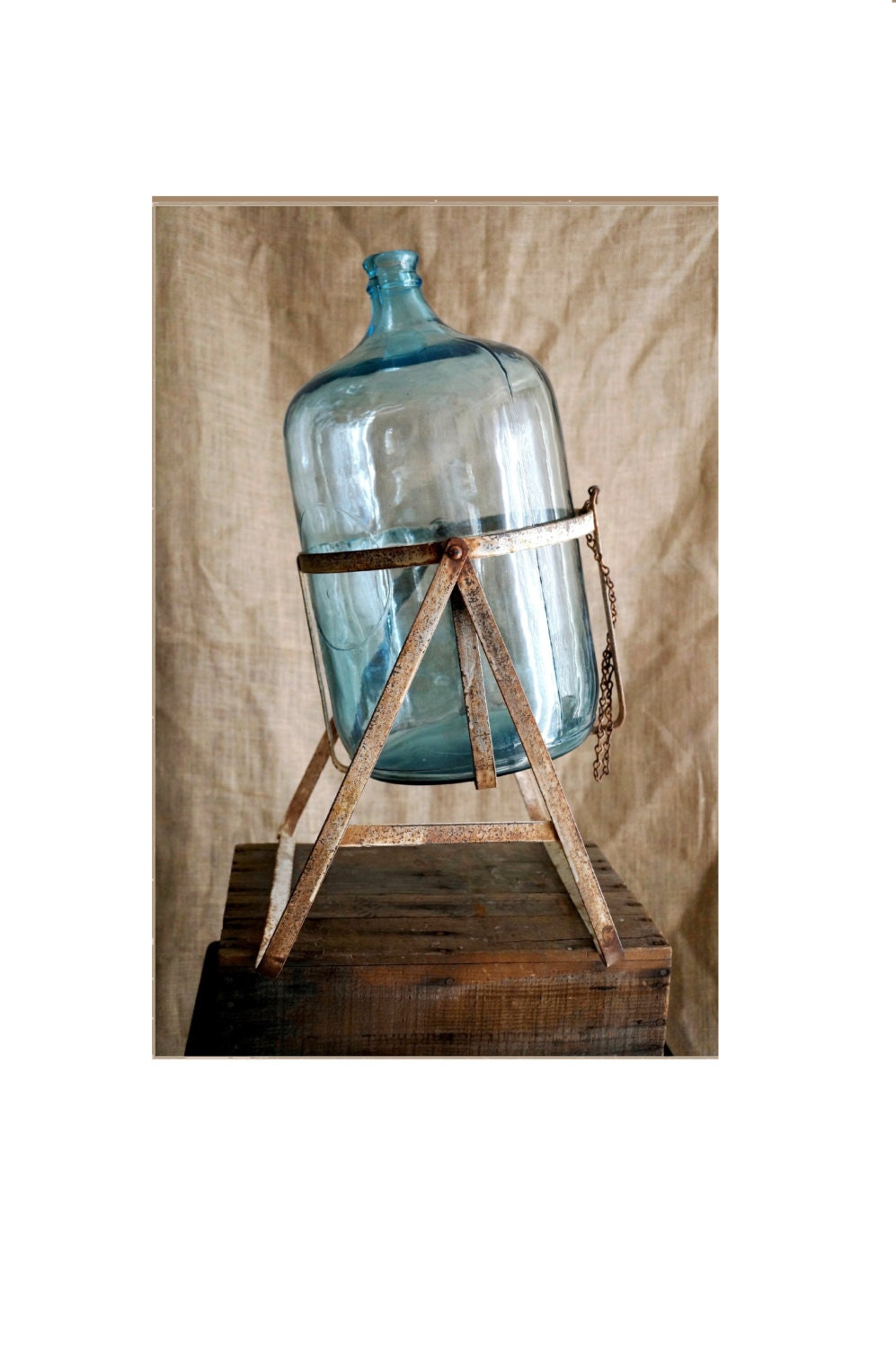 Five Gallon Glass Bottle And Metal Stand Blue Vintage Jug