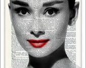 Audrey Hepburn, Dictionary Art, Film Idol, Art Print, Poster, Upcycled, Breakfast at Tiffanys, Wall Art, Fathers Day, Gift Ideas, Movie Star