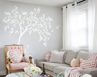 Large White Nursery Tree Wall Decal with Flowers, Birds and Leaves, White Nursery Blossom Tree Wall Decoration - Wall Tree Decals  - NT047
