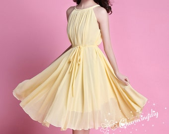 60 Colors Chiffon Light Yellow Knee Skirt Party Dress Evening Wedding Maternity Dress Sundress Summer Holiday Beach Dress Bridesmaid Skirt