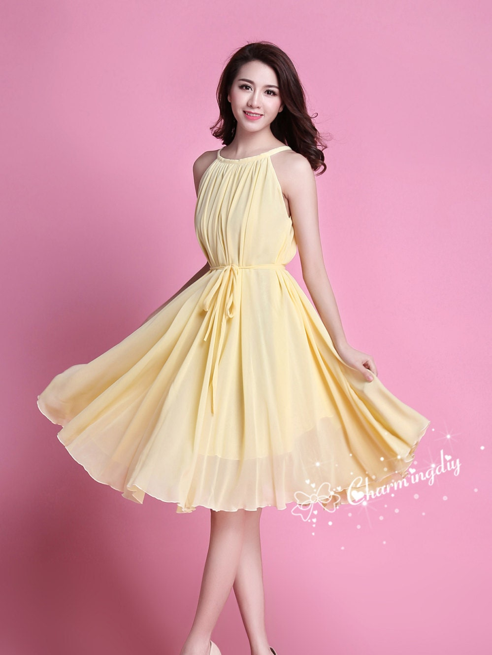 60 colors chiffon light yellow knee skirt party dress evening zoom ombrellifo Choice Image