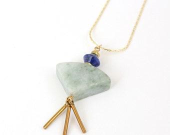 Sage Tassel Fan Necklace