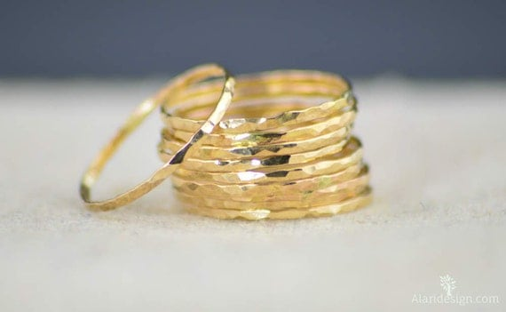 Super Thin 14k Gold Hammered Band, 14k Gold Filled, Gold Band, Stacking Rings, Simple Gold Ring, Hammered Gold bands, Dainty Gold Ring, Ring