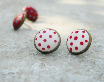 Polka dots stud earrings, polymer clay earrings, copper earrings
