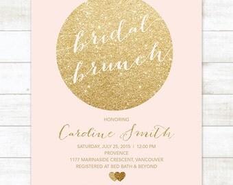 pink gold circle bridal brunch invitation, bridal luncheon invitation, brunch invitation, bridal shower invitation