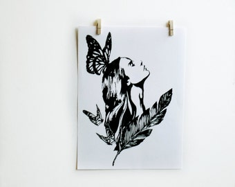 Woman and butterfly art print - black and white wall art - original pen and ink drawing illustration - feminine home decor - butterfly art