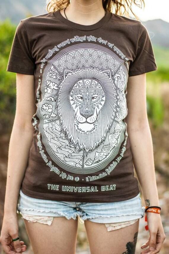 Lion T-Shirt—Organic USA Made, Sacred Geometry T-Shirt, Mandala T-Shirt, Lion Shirt, Sanskrit t-shirt, King t-shirt, Womens