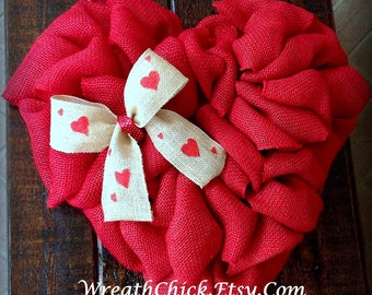 Heart wreath, Wedding wreath, Wedding shower wreath, Valentine's Day wreath, Burlap wreath, Front door wreath, Winter wreath